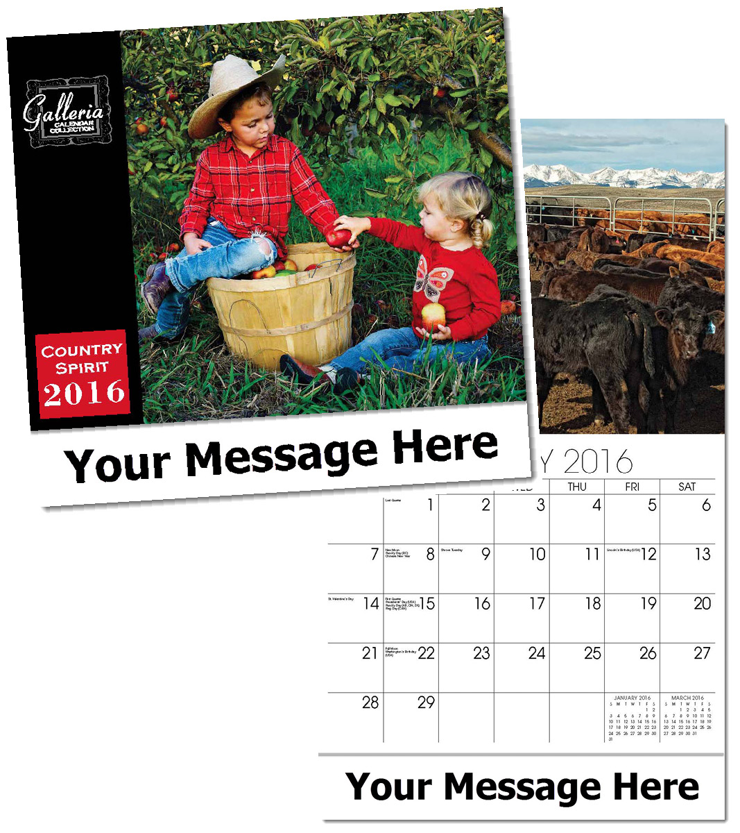 Wholesale Country Spirit  Calendars, Personalized with Custom Imprint