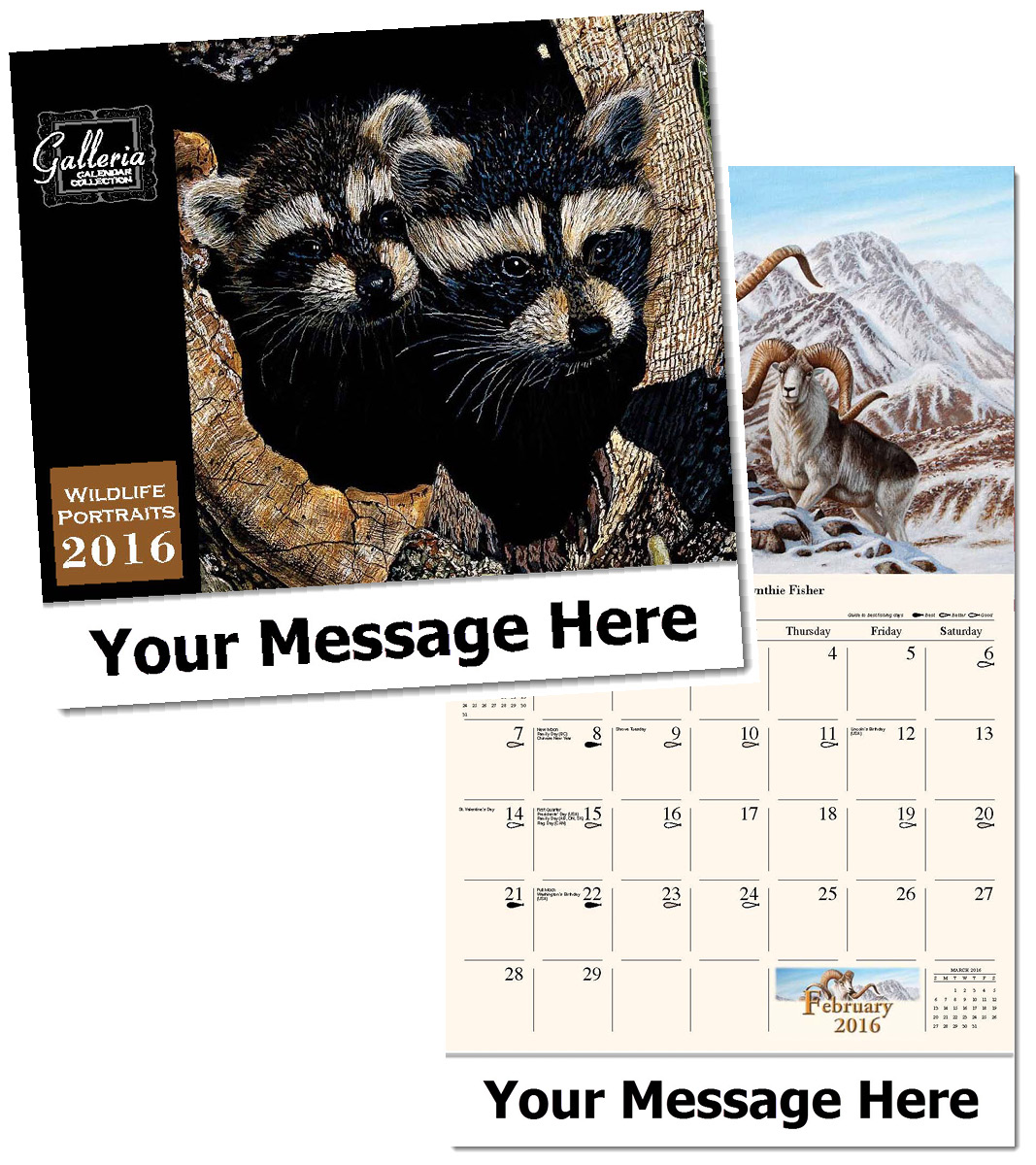 Wholesale Wildlife Portraits Calendars, Personalized with Custom Imprint