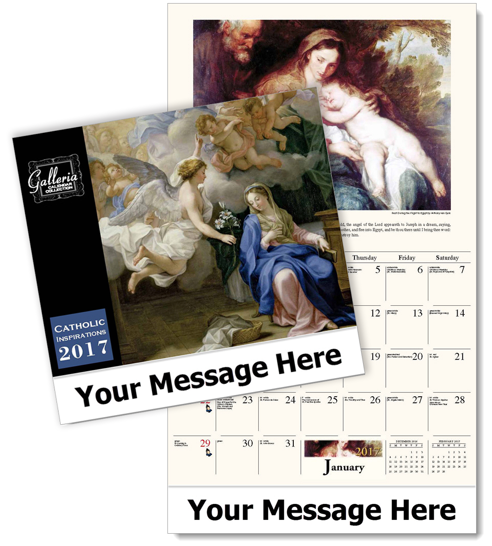 Bulk advertising Catholic Calendars, Personalized with Custom Imprint