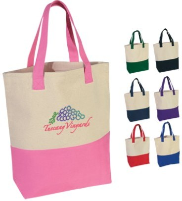 wholesale heavy cotton totes in bulk, personalized Natural with Navy, Black, Forest Green, Pink, Red, Royal Blue or Purple handles