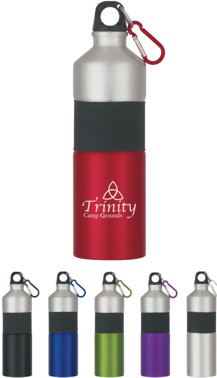 Custom Personalized Aluminum Bottles w/ Carabiner, Rubber Grip