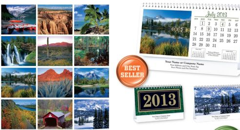 Custom American Nature Scenic tent desk calendar, personalized wholesale