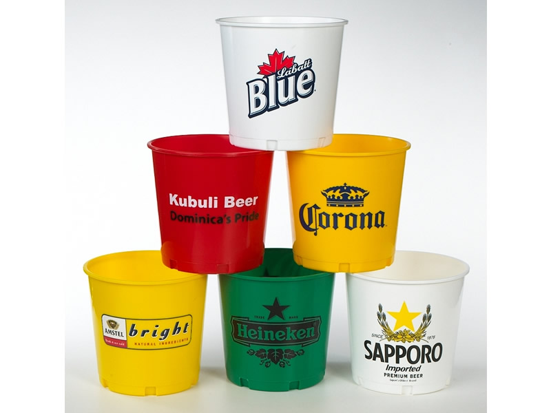 Personalized Beer Buckets, Red, Yellow, Silver, Blue, White