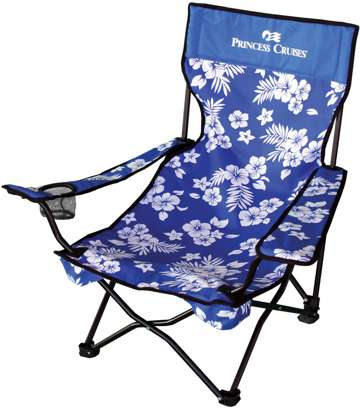 bulk personalized beach chairs with floral design, Red or Royal Blue