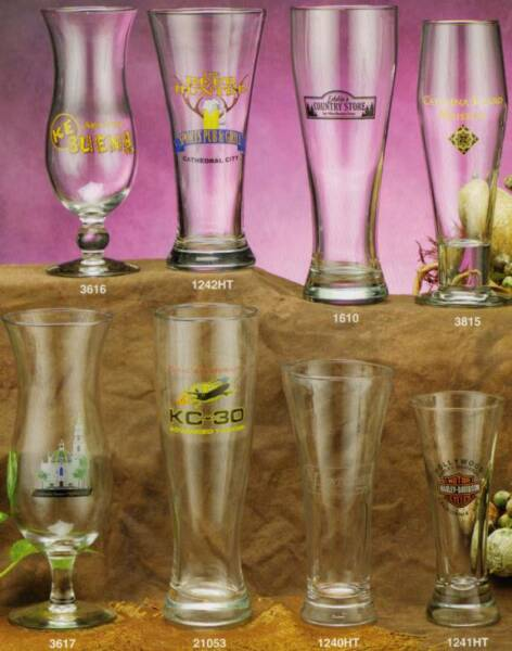 wholesale personalized beer glasses and Pilsner glasses 10 Oz. 15 Oz. 19 Oz. 23 Oz.