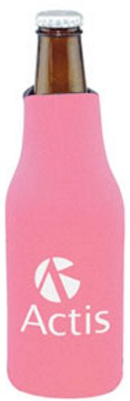 Personalized Zippered Bottle Koozie -Cooler, Pink