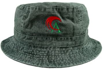 green embroidered cotton bucket hats