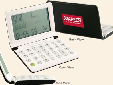 wholesale clock calculator thermometer combos, personalized with custom imprint