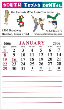 custom calendar pad magnets with notepad, full color imprint