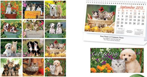personalized cats and dogs desk calendar