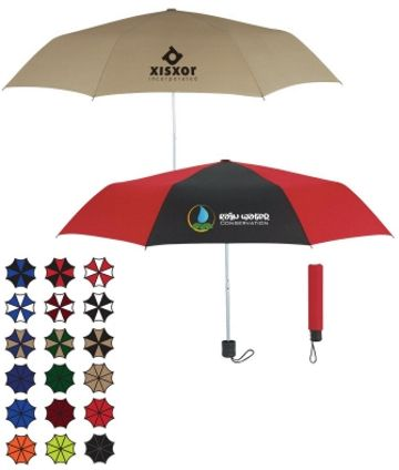 Cheap personalized folding umbrellas, Red, Royal Blue, Maroon, Black, Forest Green, Tan, Navy, Lime Green or Orange.