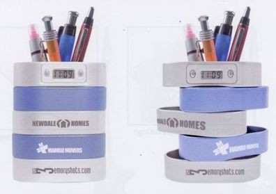 wholesale pen holder clocks with swivel drawers