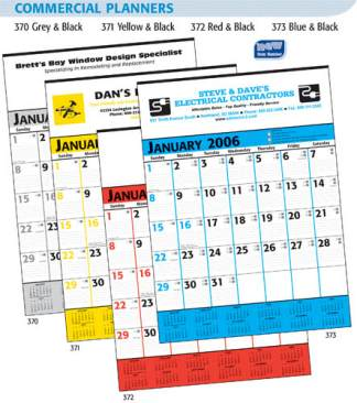 "personalized commercial calendar planner 18""x25"" 13 sheet."