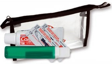 Cheap Custom Travel Dental Kit, Translucent blue, translucent red, translucent green or clear
