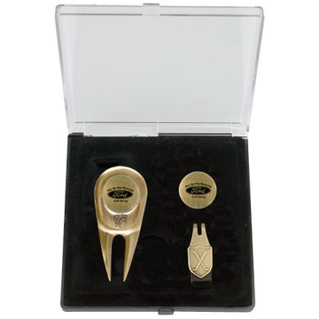 Engraved Golf Gift Set w/ Engraved Gold Golf Markers, Gold Divot Tool