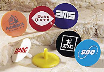 wholesale custom golf ball markers. Black , Blue , Green , Orange , Red , White , Yellow