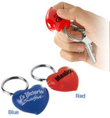 wholesale heart flashlight key rings, personalized in bulk Red, Blue