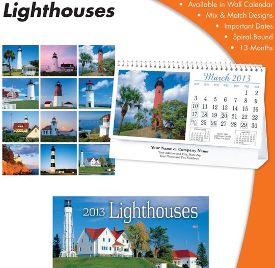 Personalized American Lighthouses Desk Calenders