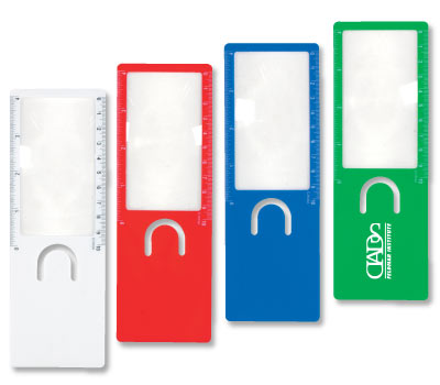 Magnifier Ruler Bookmark in Bulk, Personalized, Green, Red, Blue
