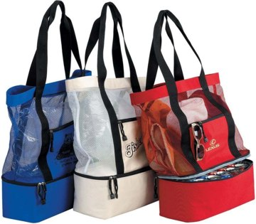 Personalized Mesh Tote w/ Cooler, Blue, Red, Natural