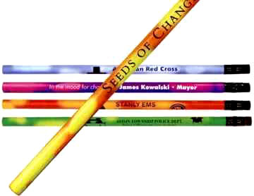 wholesale mood pencils personalized in bulk Red/Bright Orange, Bright Green/Bright Yellow