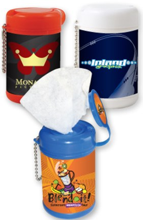 Bulk Personalized Antibacterial Sanitizer Wipes -Towelettes Canisters with Key Chain