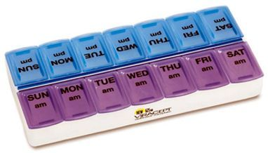 wholesale 14 compartment morning afternoon pill holders -organizers, twice a day