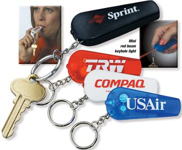 Whistle Flashlight Key Chains, Black, White, Translucent Red, Translucent Green, Translucent Blue, Translucent Purple with Red Light