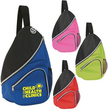 Cheap Promotional Sling Bags in Bulk, Custom Embroidered, Printed, Royal Blue, Red, Solid Black, Gray, Dark Green, Pink, Lime Green
