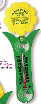 customized flower-shaped thermometer, white, yellow, pink