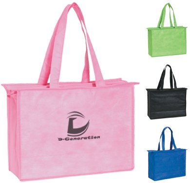 wholesale zippered shopping totes, Black, Pink, Royal Blue or Lime Green