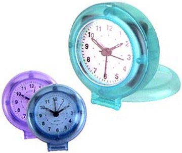 wholesale custom travel alarm clocks, puck shaped, persdonalized, translucent blue, green