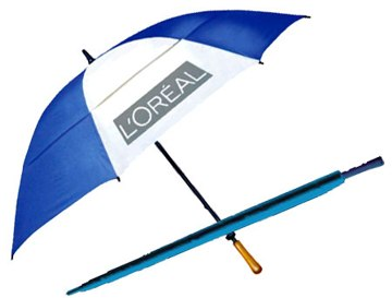 "Fiberglass Imprinted Golf Umbrellas in Bulk. Windproof, Vented Double Canopy, 62"" arc, Blue and White"