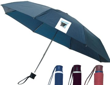bulk personalized folding umbrellas Royal Blue, Navy Blue, Black, Burgundy, Forest Green, Tan.