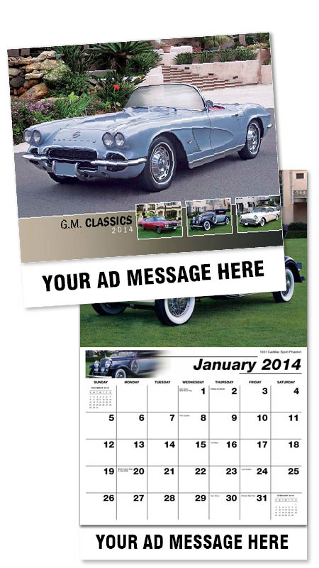 Wholesale GM  Classic Cars Calendars, Personalized with Custom Imprint