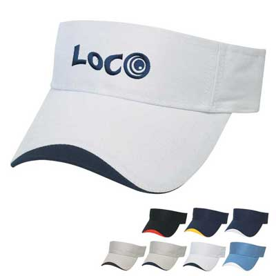wholesale cotton visors in bulk, embroidered, wave sandwich style