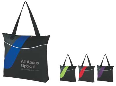 Wholesale Zippered Polyester Tote, Black with Purple, Royal Blue, Lime Green or Red