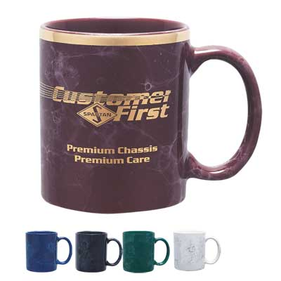 Wholesale Marbleized Mugs, Personalized, White, Cobalt Blue, Green, Black or Burgundy.