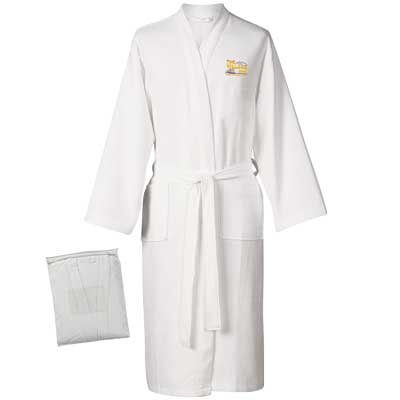 Wholesale Waffle Bathrobe Embroidered in Bulk, White, One Size Fits All