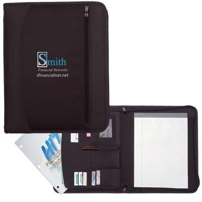 Wholesale Travel Portfolios in Bulk, Personalized, Black.