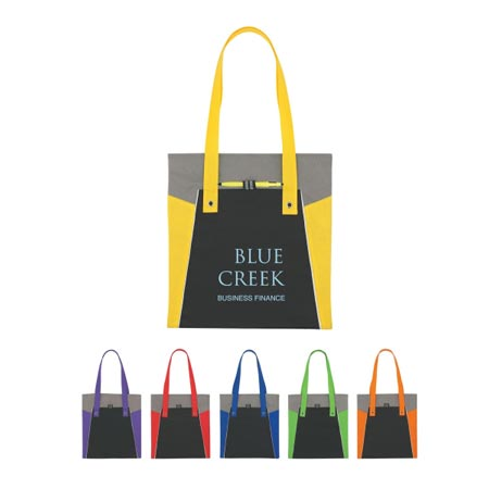 Promotional Tote Personalized Wholesale Black with Red, Lime Green, Yellow, Orange, Purple or Blue