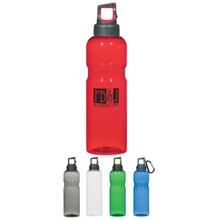 Custom Tritan Sports Bottle Personalized, Translucent Red, Blue, Green, Charcoal or Clear