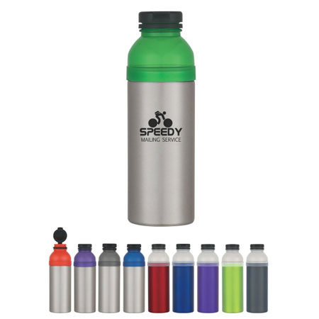 Custom 25 Oz. Aluminum Sport Bottle  Personalized Wholesale, Red, Lime Green, Purple, Charcoal or Blue with Clear Top