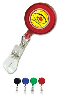Wholesale Personalized Retractable Badge Holders, Round, w/ Slip On Clip