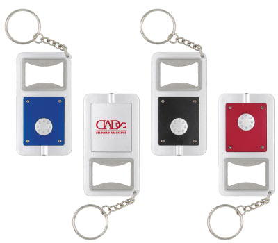 Wholesale Bottle Opener and Light Keychain, Personalized in Bulk, Black, Silver, Red, Blue