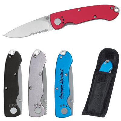Wholesale Pocket Knives with vinyl pouch, Personalized in Bulk. Black, Grey, Red, Blue