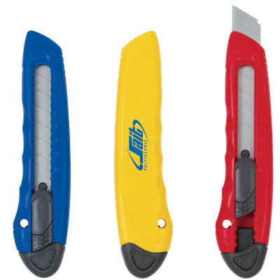 Wholesale Utility Cutter Personalized in Bulk. Red, Blue, and Yellow