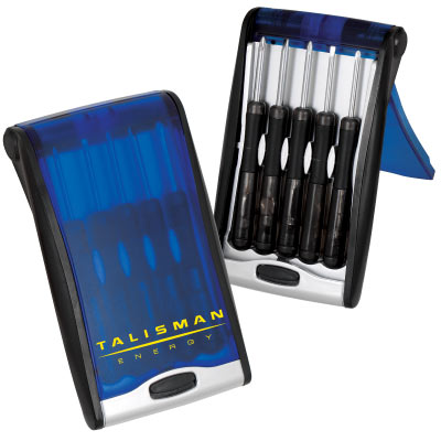 Wholesale Screwdriver Set, Personalized in Bulk. Black with Blue Cover