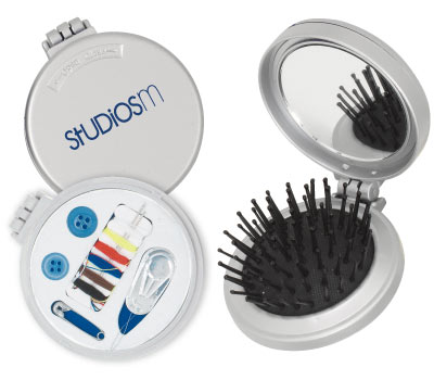 Sewing Kit, Mirror and Hair Brush, Personalized in Bulk, Gray or Black