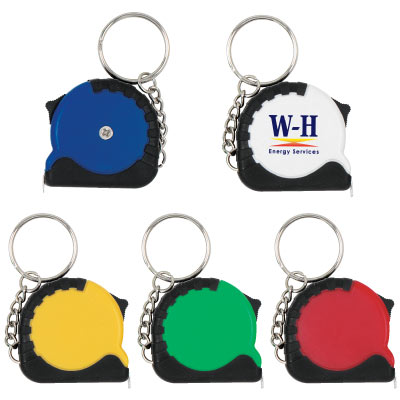 Wholesale Tape Measure Key Chain, Personalized in Bulk, Blue, White, Yellow, Green and Red